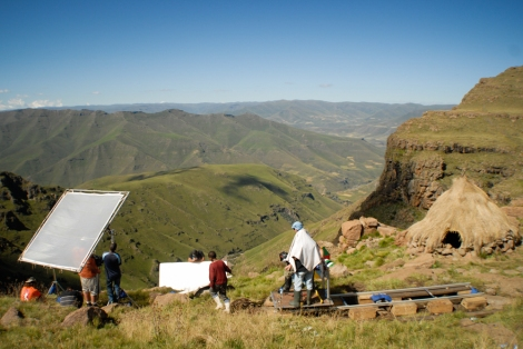 A dramatic location for a set during the filming of The Forgotten Kingdom in Lesotho | © Meri Hyöky Photography